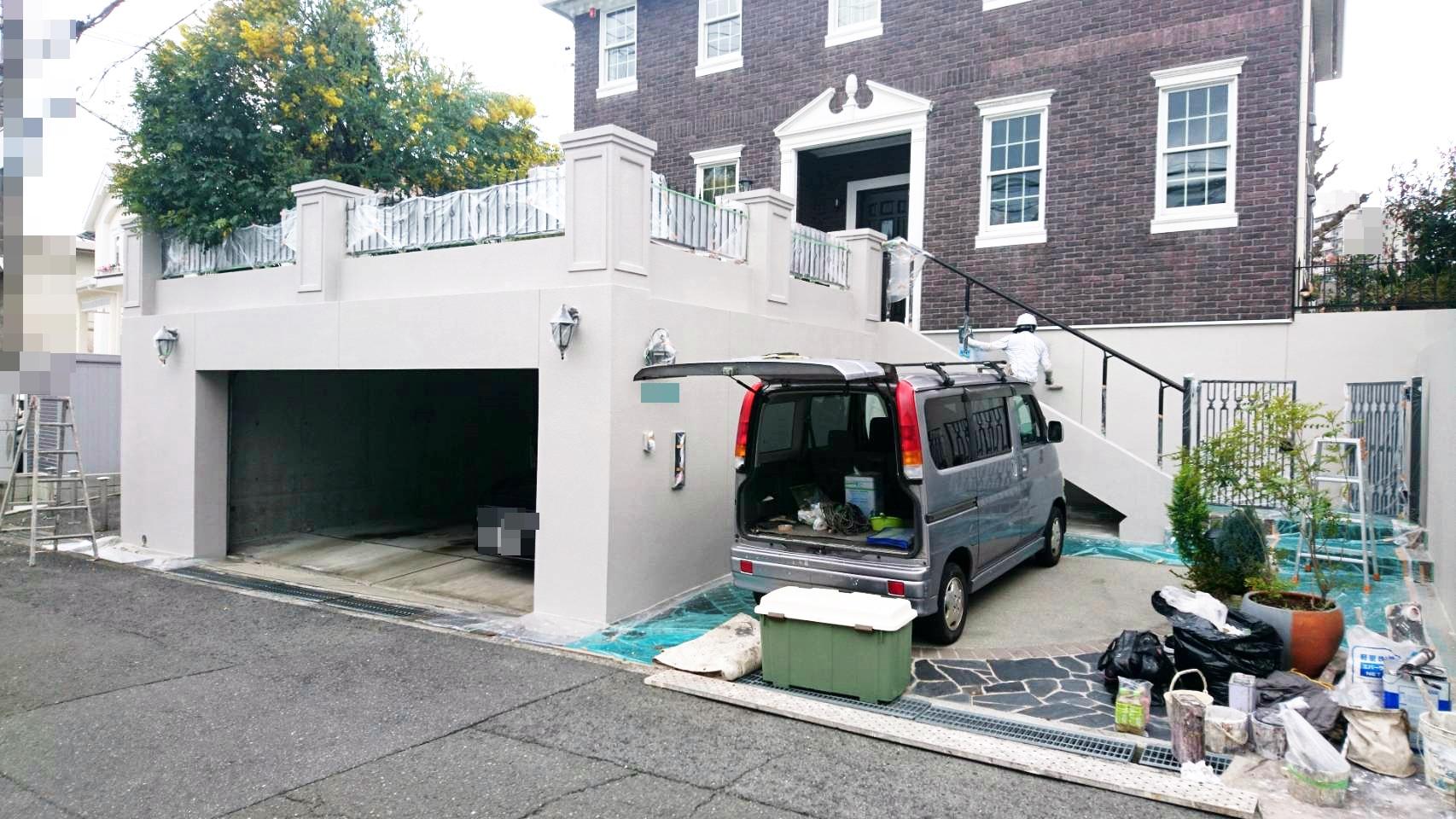 堺市南区 T様邸 洋館の擁壁塗装工事